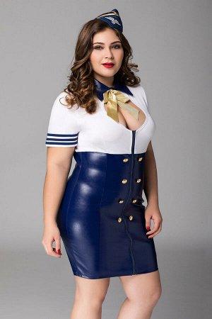 Костюм стюардессы Candy Girl Devon (платье, головной убор) сине-белый, 2XL