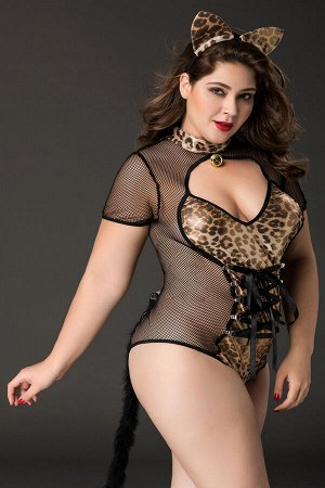 Костюм кошки Candy Girl Tawny (боди, ушки) черно-леопардовый, 2XL