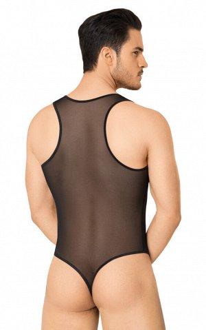 Боди из сетки мужское SoftLine Collection, черное, XL