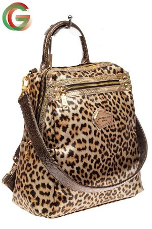Женский рюкзак из кожи с леопардовым принтом
