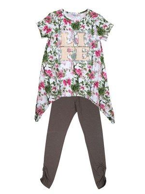 Комплект трикотажный для девочек: футболка, лосины