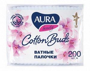 Ватные палочки Aura п/э пакет 200 шт.