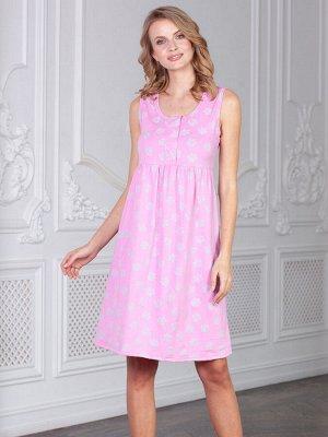 Сорочка Darina лапки серые на розовом  (хлопок-100%)