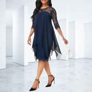 Нарядное платье с кружевом синий цвет 50-52 размер