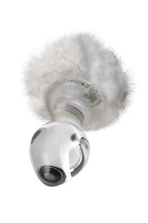 Анальная втулка Sexus Glass, стекло, с белым хвостиком, прозрачная, 14 см, ? 4 см, 165 г