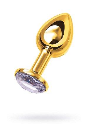 Анальная втулка Metal by TOYFA, металл, золотистая, с белым кристаллом, 7,5 см, ? 3 см, 145 г