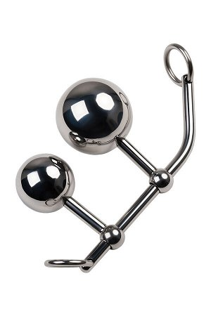 Стринги с двумя шарами, TOYFA Metal, серебристые
