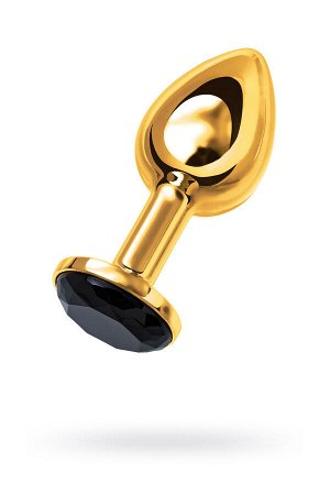 Анальная втулка Metal by TOYFA, металл, золотистая, с черным кристаллом, 7,5 см, ? 3 см, 145 г