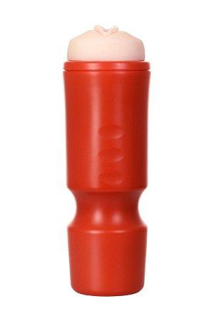 Мастурбатор,красный/телесный, вагина, TOYFA A-Toys,24cm, 7,6 cm