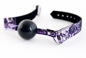 Кляп силиконовый на кружевном ремешке TOYFA Marcus, пурпурный, 62 см.