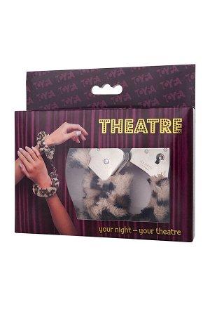 Наручники TOYFA Theatre, меховые, леопардовые, 28 см.