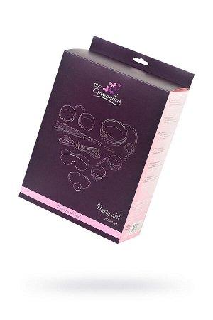 Набор для ролевых игр в стиле БДСМ Eromantica, розовый: маска, наручники, оковы, ошейник, флоггер, к