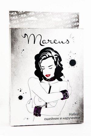 Кружевной набор TOYFA Marcus (ошейник и наручники), пурпурный