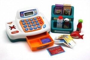 Касса Сканер и картоприемник пикает, если прикоснуться к ним. В кассе установлен настоящий калькулятор. Возраст 3+.