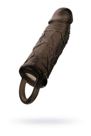 Насадка Toyfa XLover, для увеличения размера с кольцом, TPE, черная прозрачная, 14,5 см