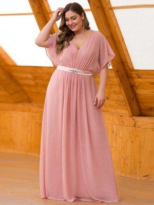 Элегантное розовое длинное платье с коротким рукавом