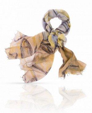 Палантин Базовый цвет: бежевый Цвет: Бежевый, серо-голубой, золотой, темно-серый  Сочетание шерсти и шелка придают этому элегантному палантину особую практичность: он одновременно тонкий, легкий и
