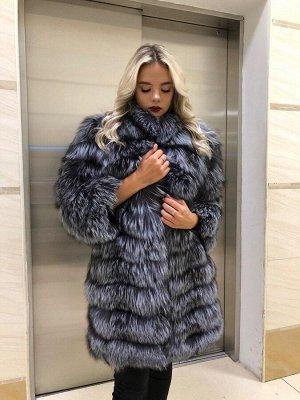 Арт. 3992 Шубка из меха чернобурой финской лисицы