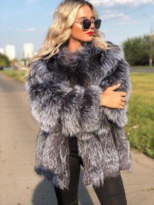Арт. 14996 Шубка из меха чернобурой финской лисицы
