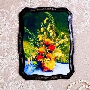 Панно «Цветы», 16х22 см, лаковая миниатюра, микс