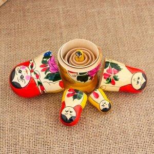 Матрёшка «Семёновская», красный платок 5 кукольная, 9-11 см