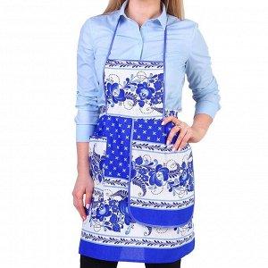 Фартук «Гжель», сувенирный, с карманом и полотенцем