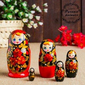 Матрёшка «Цветы с золотом», черный  платок, 5 кукольная, 10,5 см