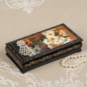 Шкатулка - купюрница «Герберы в вазе», 8,5?17 см, лаковая миниатюра
