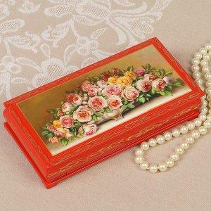 Шкатулка - купюрница «Розы в вазе», красная, 8,5?17 см, лаковая миниатюра