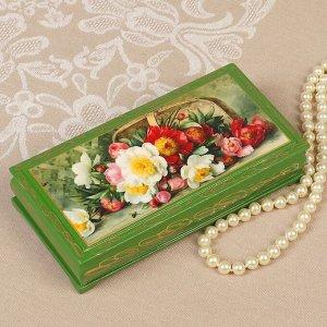 Шкатулка - купюрница «Букет цветов», зелёная, 8,5?17 см, лаковая миниатюра