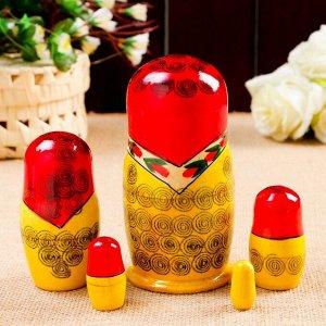 Матрёшка «Семёновская», красный платок, 5 кукольная, 14 см