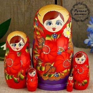 Матрешка «Анна», красный платок, 5 кукольная, 15 см