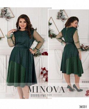 Платье №757-темно-зеленый