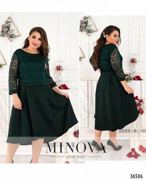 Платье №8619-1-темно-зеленый