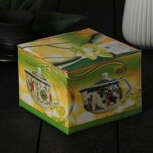 Чайник заварочный «Весеннее цветение», 200 мл , с металлическим ситом, цвет зеленый