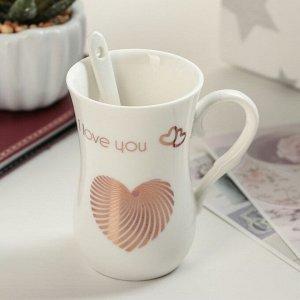 Кружка «Я люблю тебя», 100 мл, с ложкой, рисунок МИКС