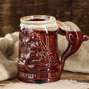 """Кружка для пива """"Пивная"""" коричневая, глазурь, 0,8 л, микс"""