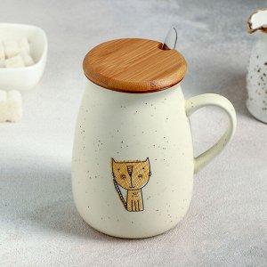 Кружка «Пэтти», 350 мл, с деревянной крышкой и ложкой, рисунок МИКС
