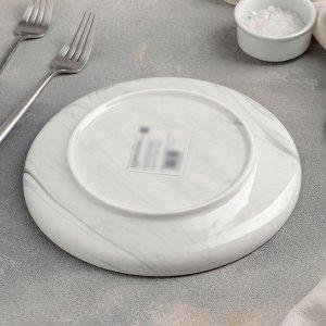 Тарелка десертная «Мрамор», 20 см, цвет серый