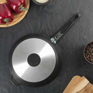 Сковорода «Традиция», 24*6 см, стеклянная крышка, съемная ручка