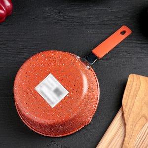 Ковш «Мрамор светлый», 1 л, силиконовая ручка, антипригарное покрытие, цвет МИКС