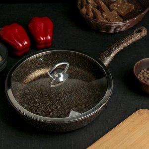 Сковорода 24 см, антипригарное покрытие, индукционное дно, стеклянная крышка