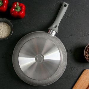 Сковорода 26 см с ручкой, стеклянная крышка, антипригарное покрытие, светлый мрамор
