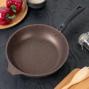 Сковорода, 24*6 см, съемная ручка, антипригарное покрытие, цвет кофейный мрамор