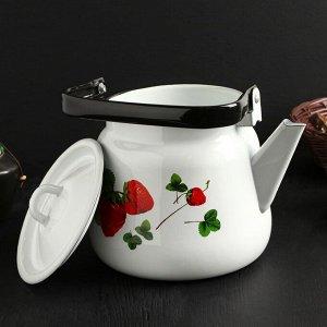 """Чайник сферический 3,5 л """"Летняя ягода"""", цвет белый"""