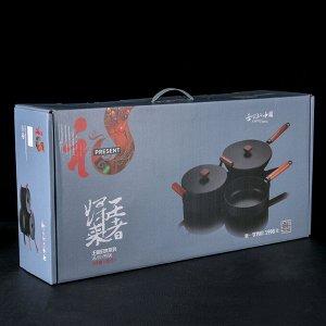 Набор посуды из чугуна «Брис», 3 предмета: кастрюля 5 л, вок 30 см, сковорода 26х4 см
