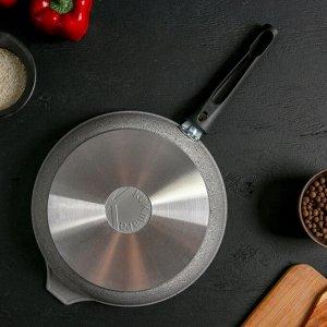 Сковорода 24*6 см, со съёмной ручкой, стеклянная крышка, антипригарное покрытие, светлый мрамор