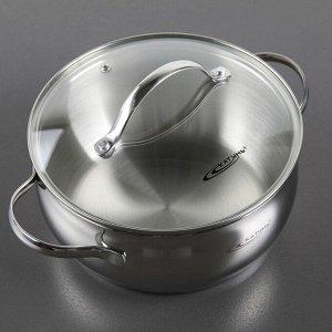 Кастрюля «Медея», d=20 см, капсульное дно, стеклянная крышка