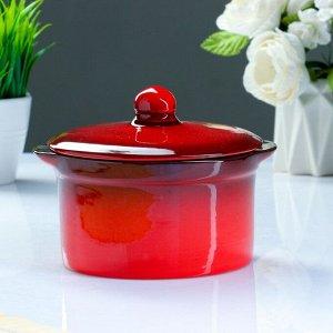 Кастрюля керамическая №2 красный 1л