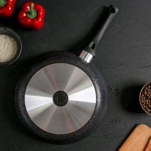 Сковорода 26 см с ручкой, стеклянная крышка, антипригарное покрытие, тёмный мрамор
